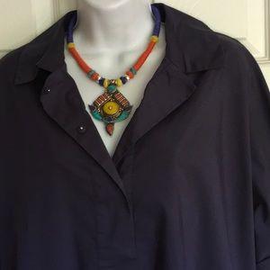 ANN KLEIN classic navy blue blouse